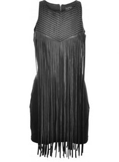 Black Woven Panelled Fringes Bodycon Mini Dress