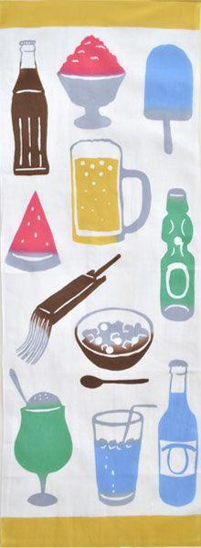 【カヤ】注染手ぬぐい「夏の味覚」 Japanese Textiles, Japanese Patterns, Japanese Fabric, Japanese Art, Textile Patterns, Textile Design, Eraser Stamp, Summer Design, Japan Fashion