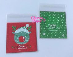 Festive Reindeer Gift Bags Cello Bags Self-adhesive Cookie bags - Favors Bags - Party bags 20/50/100 bags CB57
