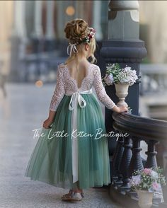 Our sage green tulle and lace flower girl dress is perfect for any style wedding and any wedding season. This dresses is also great for kids photo shoots, birthdays or any other special occasion. Green Flower Girl Dresses, Dress Flower, Boho Flower Girl, Rustic Flower Girls, Bohemian Flowers, Lace Flower Girls, Tulle Dress, Lace Dress, Lace Bodice