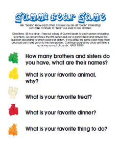 the getting to know you gummi bear game..I'm so doing this on sunday