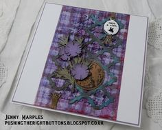 C37 - January - Destination Inspiration Terminal #1 - Jenny - 1. Product - Archival Inks, 2. Technique - Stamping, 3. Colour - Dusty Concord, 4. Substrate - Acetate.