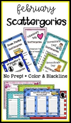 February is jam-packed with opportunities to make learning interesting and fun. We've targeted Groundhog Day, Valentine's Day, African American History Month (celebrating the efforts of Rosa Parks), President's Day and Inventor's Day.Use this game for word work, a literacy station, or early finishers, or use this as a Friday Fun-day activity. We've taken the format and created vocabulary development, creating thinking, team building, and word work! Oh, and did we mention thatit's FUN?