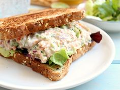 Clean Eating Tuna Salmon Salad Sandwich: the perfect high protein lunch!