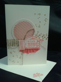 """Seen a card like similar to this and loved it.  So I made my own version of it.  Love """"Bring on the Cake"""" Stampin' Up stamp set."""
