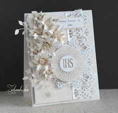 First Communion Cards, Spellbinders Cards, Explosion Box, Cute Cards, Namaste, Wedding Engagement, Cardmaking, Frame, Monochrome