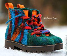 """Купить Ботинки """"Remake"""",по мотивам ботинок """"Сhameleon"""". - тёмно-зелёный, изумрудный, бордо, оранжевый, синий"""
