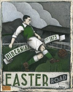 One off, original acrylic painting on stretched thin edge canvas by artist Paine Proffitt entitled Hibernian. Inspired by Hibernian FC scottish football team. Football Icon, Football Design, Football Art, Vintage Football, Sunshine On Leith, Football Paintings, Hibernian Fc, Soccer Images, Football Wallpaper
