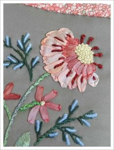Wonderful Ribbon Embroidery Flowers by Hand Ideas. Enchanting Ribbon Embroidery Flowers by Hand Ideas. Brazilian Embroidery Stitches, Learn Embroidery, Silk Ribbon Embroidery, Embroidery For Beginners, Hand Embroidery Patterns, Embroidery Art, Embroidery Designs, Embroidery Supplies, L'art Du Ruban