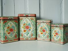 Vintage Turquoise and Pink Floral Canister Set made in Holland Vintage Canister Sets, Vintage Kitchenware, Vintage Tins, Vintage Love, Retro Vintage, Vintage Floral, Fireplace Mantle, Tin Boxes, Vintage Turquoise