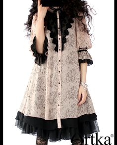 Artka chiffon lace shirt-dress, could use in dolly kei