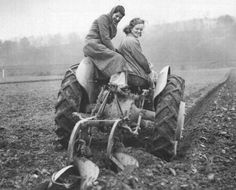 Land Girls and tractor.