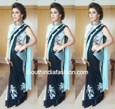 Hansika in Half and Half Saree – South India Fashion Pakistani Dresses, Indian Sarees, Indian Dresses, Indian Outfits, Blue Dresses, Indian Fashion Trends, 2015 Fashion Trends, India Fashion, Women's Fashion