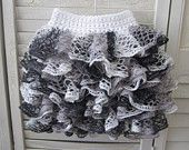 Handmade Black and White Spring Skirt with Ruffles