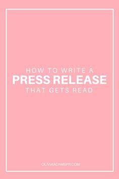 press release template | Writing | Pinterest