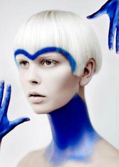 Future Girl, Blond, Hairstyle, Futuristic Girl, Blue Hair, Face, Art Fashion, Jasmine Ståhl