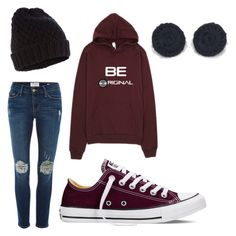 """Be Original hoodie set"" by hypnoears-official on Polyvore featuring Frame Denim, Converse, Accessorize, women's clothing, women's fashion, women, female, woman, misses and juniors"