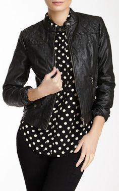 Quilted Textured Faux Leather Motorcycle Jacket
