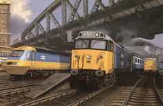 Paddington Station depicted in 1977 with a new Inter City 125 (left), a Class 50 loco leaving with a west of England express and Class 31 light engine (right) Electric Locomotive, Diesel Locomotive, London Paddington Station, Transport Pictures, Scotland History, Train Posters, Train Room, Train Art, Train Pictures