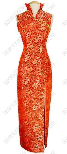 Graceful and festive. This Chinese Dragon Brocade Dress is fine cutting and well designed by our...