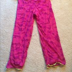 "Pretty  COSABELLA  PANTS   Beautiful soft Pants by COSABELLA designer. Pretty pinks/purple design with soft lime trim on hem. Comes to ankle on my 5'4"" body. Everything is so soft. Inner pink lining so you can wear these pants out and about or to lounge at home, then to bed. In Excellent, as New condition. Size M.   Pair with my listed lace top. COSABELLA Pants Ankle & Cropped"