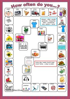 Board game - Frequency adverbs worksheet - Free ESL printable worksheets made by teachers English Vocabulary Games, Vocabulary Strategies, English Games, English Activities, Grammar And Vocabulary, Adverb Activities, Spelling Activities, Listening Activities, English Lessons