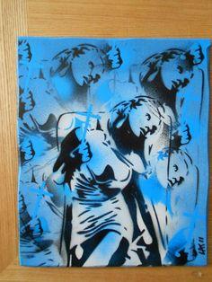 saint & sinner bluestencilart painting. by AbstractGraffitiShop, $50.00