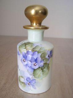 Antique CM Limoges Cologne Perfume Bottle Artist Signed Violets Charles Martin | eBay