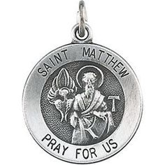 Sterling Silver 15mm Round St. Matthew Medal | 4.51 Grams | Jewelry Series: R16333