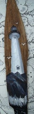 """Lighthouse Original Signed Painting on Driftwood Seagull Ocean Nautical 25x4"""""""