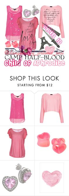"""Cabin 10 - Aphrodite (child of Aphrodite)"" by daughter-of-artemis-real ❤ liked on Polyvore featuring DKNY, Topshop, Majestic, Camp, Hot Topic, Bridge Jewelry and WALL"