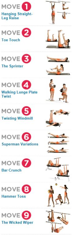 Gold Medal Abs (incl. lower part) • 9 serious ab moves from top Olympic trainers that will score you a rock-solid middle. http://www.womenshealthmag.com/fitness/abs-workouts