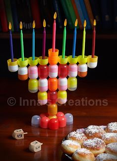 Hanukkah Menorah made from recycled materials - cute idea for a kids project.
