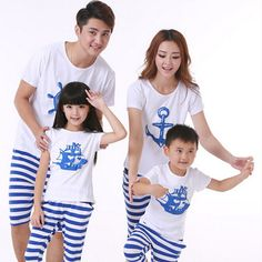 New Fashion Family Set Clothes For Mother Daughter And Father Son Suits Cotton Short-Sleeve Shirts And Fashion Striped Pants