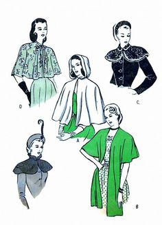 Vintage 1940s Capes and Wraps Pattern Hooded Cape Collared Capelet and Stole 1948 Butterick 4570 UNCUT by sydcam123