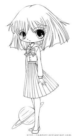 Hotaru Chibi Lineart By YamPuff On DeviantART Cute Coloring PagesColoring