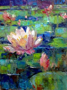 """Daily Paintworks - """"Waterlilies"""" - Original Fine Art for Sale - © Julie Ford Oliver Más Lily Painting, Painting & Drawing, Lilies Drawing, Water Lilies Painting, Lotus Painting, Monet Water Lilies, Painting Abstract, Arte Floral, Art Abstrait"""