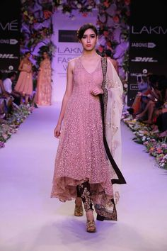 Shyamal & Bhumika Lakme Fashion Week Summer Resort 2014 pink indian wedding churidar suit. More here - http://www.indianweddingsite.com/shyamal-bhumika-lakme-fashion-week-summer-resort-2014/