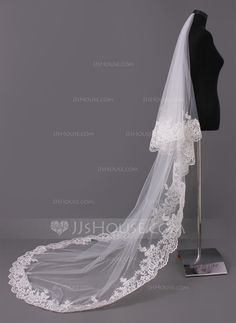 One-tier Cathedral Bridal Veils With Lace Applique Edge (006005417) - JJsHouse