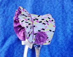 Ruffled Baby Bonnet Grey Purple Lime Green and Black by AdorableandCute on Etsy