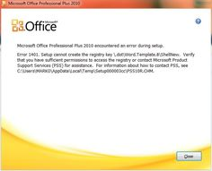 How to Fix Microsoft Office Installation Errors – 1401, 1402 or 1406?