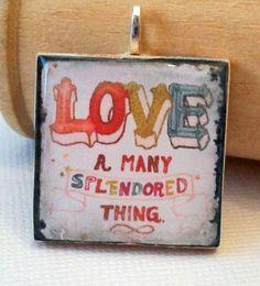Retro Cool Love Square Wooden Pendant
