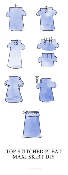 Top stitched pleated maxi skirt DIY    how to sew a formal maxi skirt for a fancy occasion