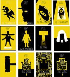 Livros de Kafka amarelizados.