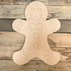 Gingerbread Man, Unfinished Wooden Craft, Paint by Line Gingerbread Man Decorations, Gingerbread Christmas Decor, Gingerbread Crafts, Christmas Yard Art, Wooden Christmas Decorations, Christmas Signs Wood, Gingerbread Man Template, Gingerbread Houses, Gingerbread Cookies