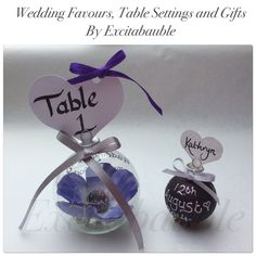 Purple flower Personalised glass Wedding Favours, Table Settings and Gifts www.excitabauble.co.uk