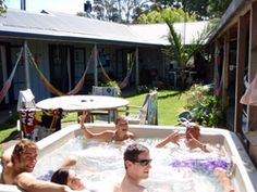 Raglan Backpackers--cool hostel in Raglan, NZ.  You definitely get a sense of community here, but don't expect luxury.  Each room opens up to a courtyard and the surfing is AMAZING in Raglan!