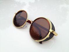 Steampunk Round Sunglasses Goggles - Aviator Fashion Aviator Handmade Mens Sunglasses Womens Sunglasses Eyewear - Brown
