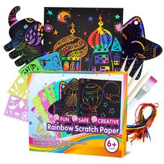 ZMLM Scratch Paper Art Set for Kids - 107 Pcs Rainbow Magic Scratch Off Arts and Crafts Supplies Kits Sheet Pack for Children Girls Boys Birthday Game Party Favor Christmas Easter Craft Gifts Rainbow Magic, Rainbow Paper, Kids Rainbow, Art Party Favors, Safe Creative, Art Sets For Kids, Magic Crafts, Scratch Art, Birthday Games