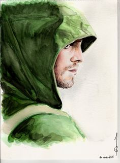 Drawing of Stephen Amell as Oliver Queen in Arrow (CW) Aquarelle Watercolor Pens Draw Dessin Art Artwork Pencils Portrait Sketch illustration Faber Castell